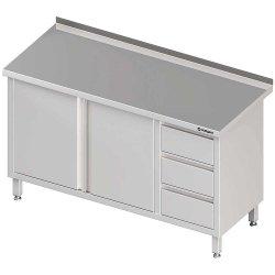 Stół przyścienny z blokiem trzech szuflad (P),drzwi skrzydłowe 1800x600x850 mm