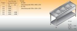 Stół zlewozmywakowy 3-zbiornikowy lo 262 - 1700x600