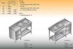 Stół zlewozmywakowy 2-zbiornikowy lo 240/s2 - 1900x700