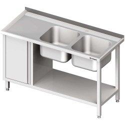 Stół ze zlew 2-kom.(P), z szafką i półką 1900x700x850 mm