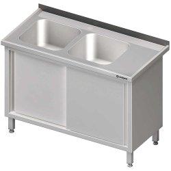 Stół ze zlewem 2-kom.(L),drzwi suwane 1800x700x850 mm