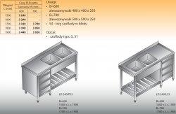 Stół zlewozmywakowy 2-zbiornikowy lo 240/s3 - 1700x600