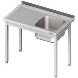 Stół ze zlewem 1-kom.(P),bez półki 800x600x850 mm spawany