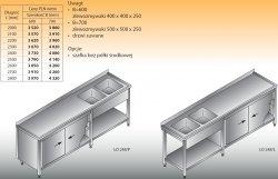 Stół zlewozmywakowy 2-zbiornikowy lo 248 - 2800x700
