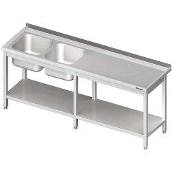 Stół ze zlewem 2-kom.(L),z półką 2500x700x850 mm