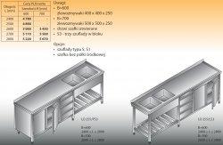 Stół zlewozmywakowy 2-zbiornikowy lo 255/s3 - 2600x600