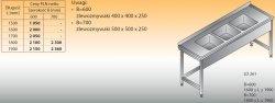 Stół zlewozmywakowy 3-zbiornikowy lo 261 - 1700x600