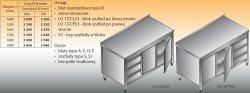 Stół roboczy z blokiem szuflad i szafką lo 137/s3 - 1600x600