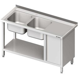 Stół ze zlew 2-kom.(L), z szafką i półką 1700x600x850 mm