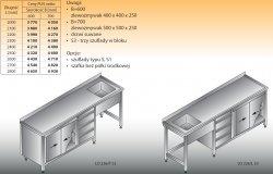 Stół zlewozmywakowy 1-zbiornikowy lo 226/s3 - 2800x700
