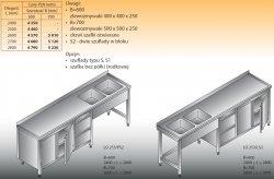 Stół zlewozmywakowy 2-zbiornikowy lo 253/s2 - 2800x700