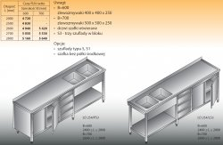 Stół zlewozmywakowy 2-zbiornikowy lo 254/s3 - 2800x600