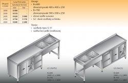 Stół zlewozmywakowy 2-zbiornikowy lo 256/s2 - 2600x700
