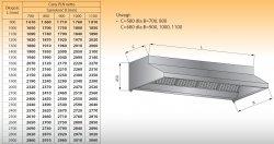 Okap przyścienny bez oświetlenia lo 901/1 - 2400x1000
