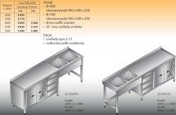 Stół zlewozmywakowy 2-zbiornikowy lo 256/s3 - 2800x600