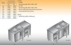 Stół zlewozmywakowy 2-zbiornikowy lo 245 - 2400x700