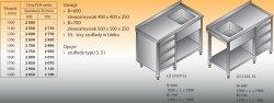 Stół zlewozmywakowy 1-zbiornikowy lo 209/s3 - 1700x700
