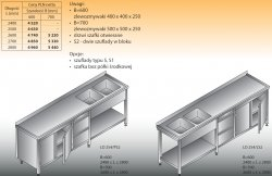 Stół zlewozmywakowy 2-zbiornikowy lo 254/s2 - 2600x700