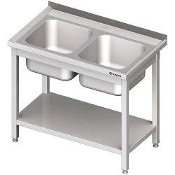 Stół stalowy z półką ze zlewem 2-komorowym, spawany, 1000x700x850 mm