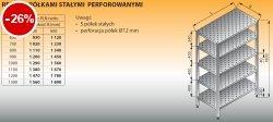 Regał z półkami stałymi perforowanymi lo 604 - 1200x400