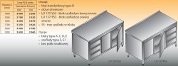 Stół roboczy z blokiem szuflad i szafką lo 137/s3 - 1600x700