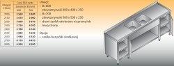 Stół zlewozmywakowy 2-zbiornikowy lo 251 - 2600x700