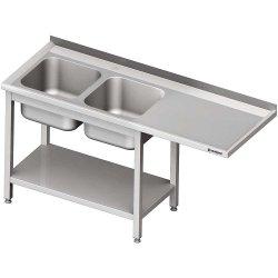 Stół ze zlewem 2-kom.(L) i miejscem na lodówkę lub zmywarkę 2400x600x900 mm