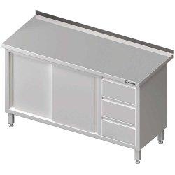 Stół przyścienny z blokiem trzech szuflad (P),drzwi suwane 1400x700x850 mm