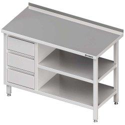 Stół przyścienny z blokiem trzech szuflad (L),i 2-ma półkami 1600x700x850 mm