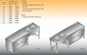 Stół zlewozmywakowy 2-zbiornikowy lo 247 - 2600x700