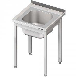 Stół ze zlewem i otworem pod rozdrabniacz, bez półki 700x700x850 mm skręcany