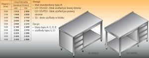 Stół roboczy z blokiem szuflad i półką lo 135/s3 - 1700x600