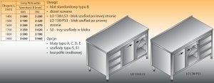 Stół roboczy z blokiem szuflad i szafką lo 138/s3 - 1600x700