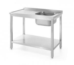 Stół z jednym zlewem z półką, prawy - skręcany, o wym.1000x600x(H)850 mm