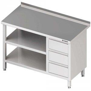 Stół przyścienny z blokiem trzech szuflad (P),i 2-ma półkami 1700x600x850 mm