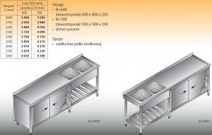 Stół zlewozmywakowy 2-zbiornikowy lo 249 - 2100x700