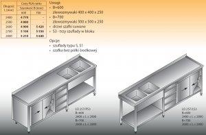 Stół zlewozmywakowy 2-zbiornikowy lo 257/s3 - 2600x700