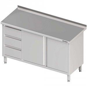 Stół przyścienny z blokiem trzech szuflad (L),drzwi skrzydłowe 1600x700x850 mm