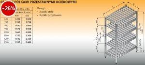 Regał z półkami przestawnymi ociekowymi lo 606 - 1200x600