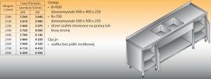 Stół zlewozmywakowy 2-zbiornikowy lo 251 - 2700x700