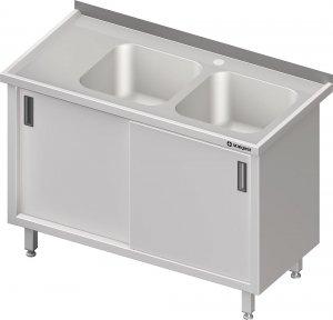 Stół ze zlewem 2-kom.(P),drzwi suwane 1400x700x850 mm