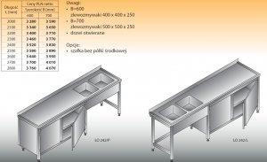 Stół zlewozmywakowy 2-zbiornikowy lo 242 - 2800x700