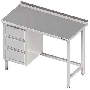 Stół przyścienny z blokiem trzech szuflad (L),bez półki 1600x700x850 mm