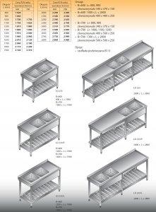 Stół zlewozmywakowy 2-zbiornikowy lo 233 - 2500x700