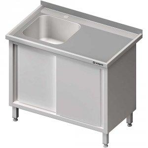 Stół ze zlewem 1-kom.(L),drzwi suwane 1900x700x850 mm