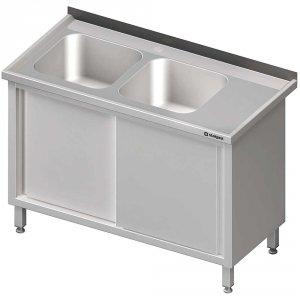 Stół ze zlewem 2-kom.(L),drzwi suwane 1400x700x850 mm