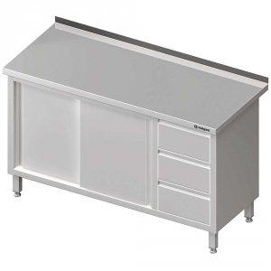 Stół przyścienny z blokiem trzech szuflad (P),drzwi suwane 1600x700x850 mm