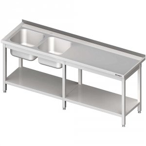 Stół ze zlewem 2-kom.(L),z półką 2400x600x850 mm