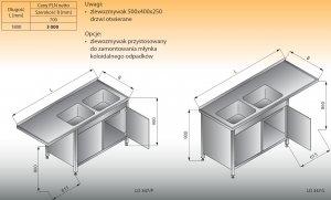 Stół zlewozmywakowy 2-zbiornikowy z szafką lo 347 prawy Lozamet