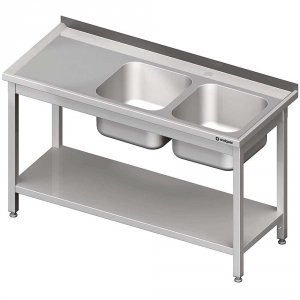 Stół stalowy z półką ze zlewem 2-komorowym prawym, skręcany, 1200x600x850 mm
